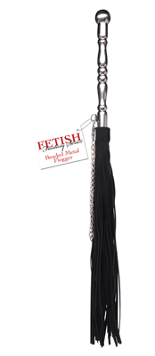 One crack of the Beaded Metal Flogger and your lover will know who is in charge. It Hurts so Good!  Measurements: Entire Flogger is approx. 23 inches in length; Handle is 7.25 inches in length; Strands are 13.75 inches in length  Color: Black and Silver/Chrome