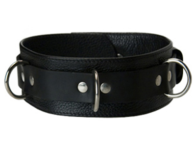 This Strict Leather Collar is built for comfort and durability. It consists of a two inch wide strap of soft leather folded over for the wearer's comfort and a reinforcing heavy duty one inch strap. For extra security it incorporates locking buckles.  Fits necks 13-19 inches