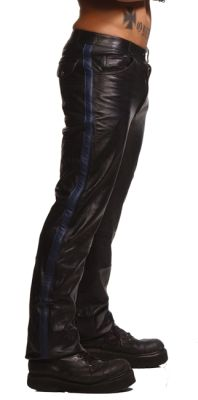 Police Leather Pants with Blue Stripe