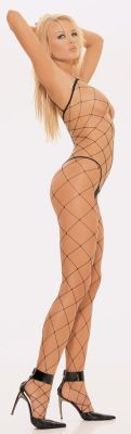 Spaghetti Strapped Fence Net Bodystocking