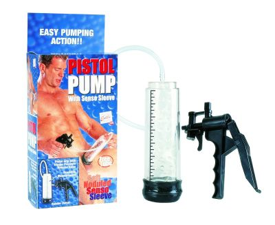 your shaft into this ultra powerful sucking sensation. Reach your maximum potential with this easy grip pump. Watch your engorged penis grow as it is stimulated by the soft noduled sleeve.  Measurements: Cylinder is 8.5 inches in length and 8.5 inches in circumference. The hose reaches 23 inches in length.  Material: PVC sleeve and hose, ABS cylinder and pump.
