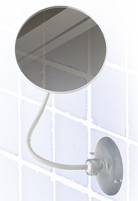 This Fog-Free Shaving Mirror is perfect for viewing those hard to see places! Attach to the bath or shower tile using the sturdy suction cup and bend the arm to position the mirror however you need it for the perfect view. The mirror remains fog-free and bent at the adjusted angle so that you can groom easily or have a better view when the action heats up!  Measurements: Mirror approx. 5 inches in diameter with an arm approx. 11.5 inches in length. Suction cup approx. 3.25 inches in diameter.  Color: White.