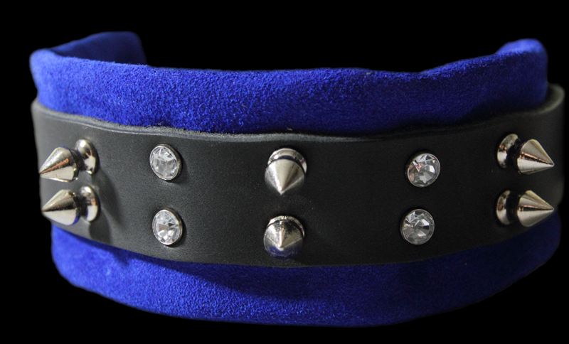 spikes and crystal bondage collar