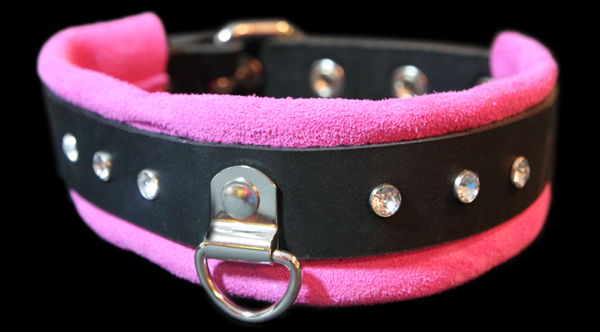 crystals choker leather