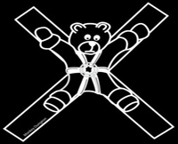 teddy bear st. andrew's cross bondage t shirt