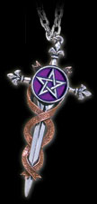 Sword of Destiny With the Latin inscription 'Fortune favoured the brave', and the power of the pentacle.      Height : 86mm     Width : 47mm     Depth : 10mm     Weight : 30g