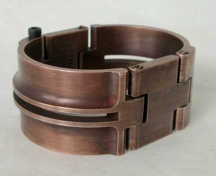 Deco Cuff with Slots - Antique Copper