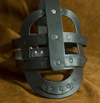 leather head cage mask restraint