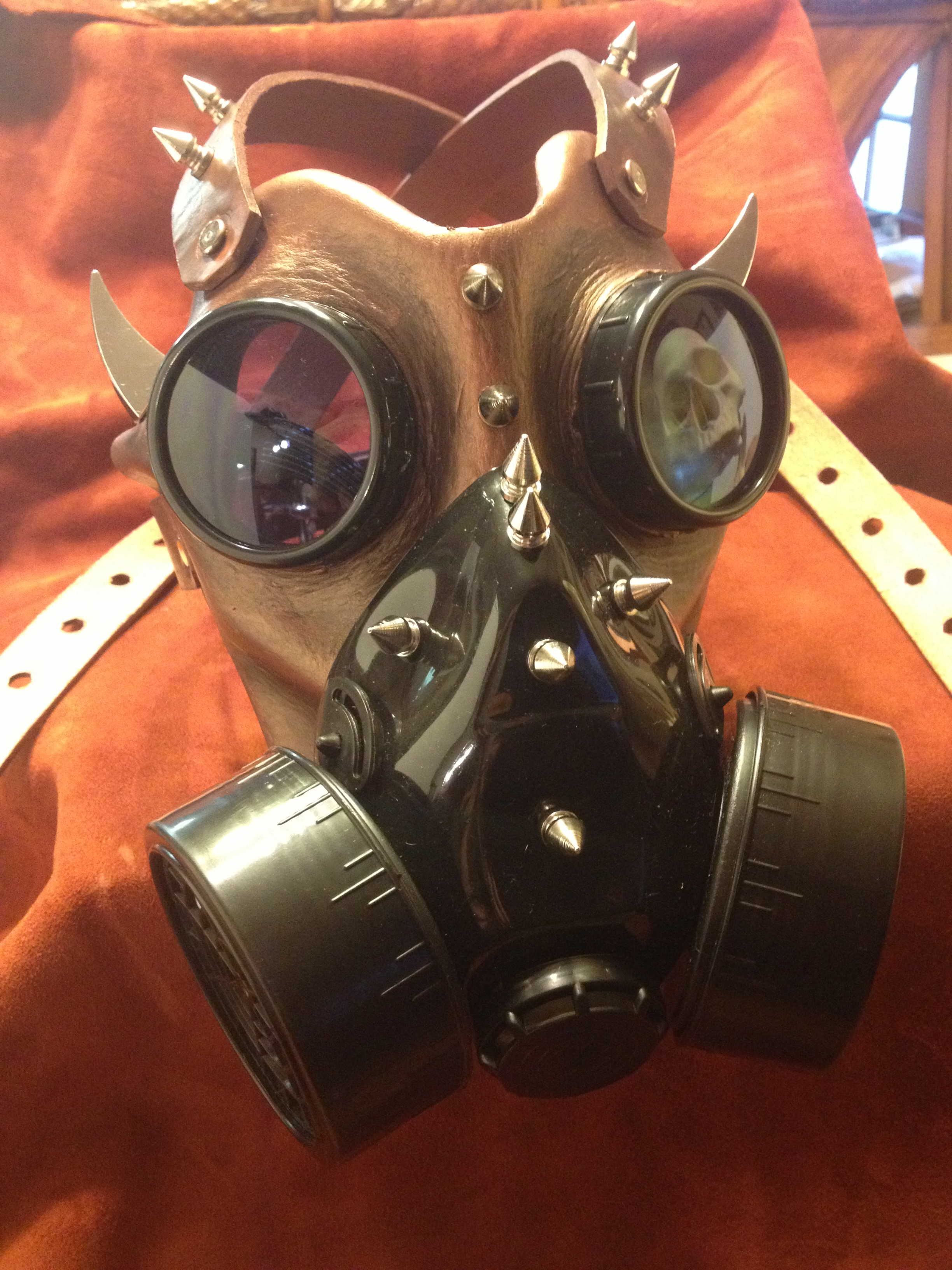 leather gas mask