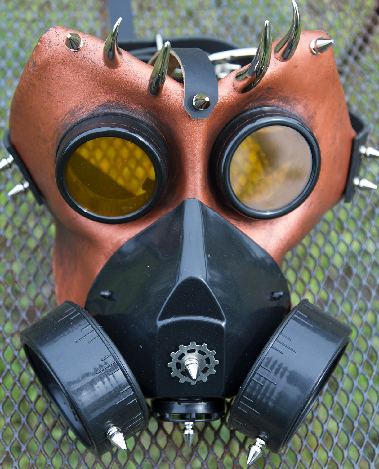 M2 leather gas mask spikes